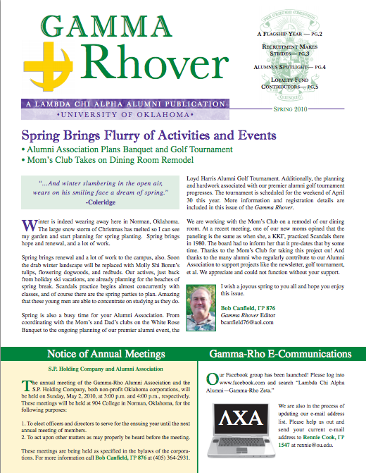 Spring 2010 Gamma Rhover Newsletter Cover