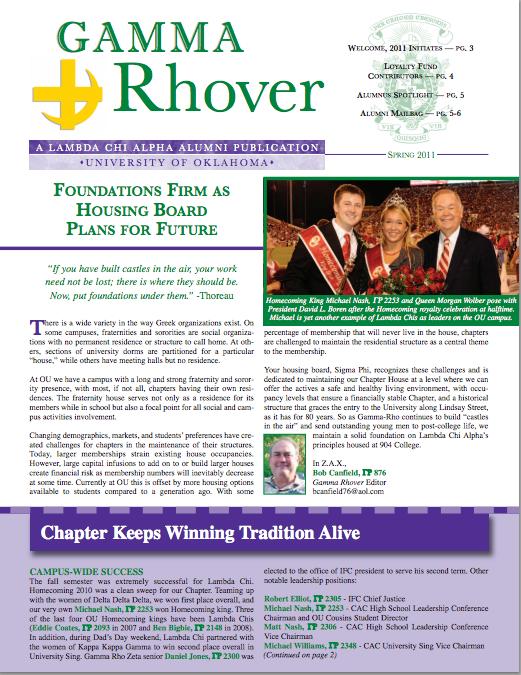 Spring 2011 Gamma Rhover Newsletter Cover