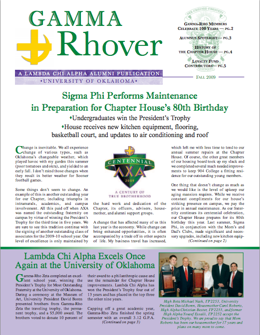 Fall 2009 Gamma Rhover Newsletter Cover