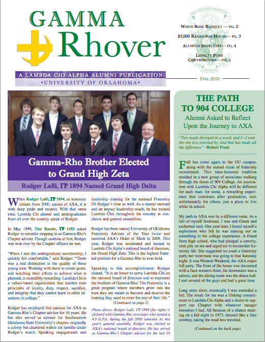 Fall 2010 Gamma Rhover Newsletter Cover