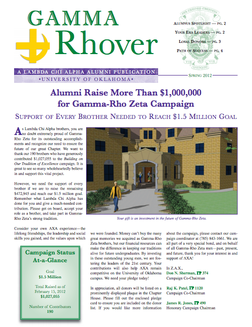 Spring 2012 Gamma Rhover Newsletter Cover
